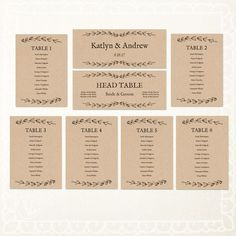 Printable Wedding Seating Chart INSTANT DOWNLOAD  by VineWedding