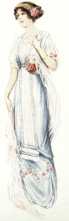 A Daytime Dress from the 1910's is defined by light fabrics and draping. A revival of the Empire waistline around 1912 was accompanied by a straighter, more narrow skirt.