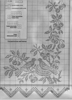 Crochet Curtain Patterns Part 3 - Beautiful Crochet Patterns and Knitting Patterns Filet Crochet Charts, Crochet Motifs, Crochet Diagram, Crochet Doilies, Crochet Stitches, Crochet Squares, Cross Stitches, Beau Crochet, Crochet Birds