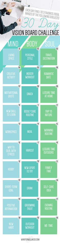 This 30 day vision board challenge will motivate you to review and tweak your life in a simple way, and to help you stay motivated to achieve your goals! Check it out at www.wantforwellness.com