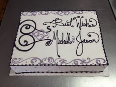 Contemporary Filigree / Scrollwork engagement cake. Wild Flour Bakery.
