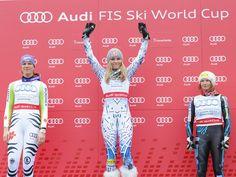 Auf dem Podest: Lindsey Vonn, Maria Höfl-Riesch und Julia Mancuso sind die Top 3 beim Abfahrts-Weltcup 2011