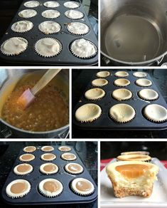 recept na karamelove cheesecake muffiny postup - Cheesecake Pie, Mini Cupcakes, Cheesecakes, No Bake Cake, Muffins, Food And Drink, Pudding, Sweets, Healthy Recipes