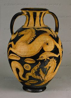 Sea animals (dolphins, hyppocampi). Amphora, red-figured Terracotta (6th-1st BCE), from Caniao.  Greek  Hermitage  Museum