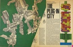Article written by Priscilla Chapman on Plug-In City, published in The Sunday Times colour supplement magazine, 20th September, Archigram 1964.