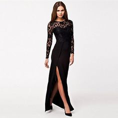 Women's Thigh High Slit Long Sleeve Maxi Dress – USD $ 16.99