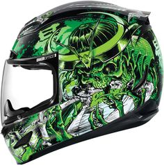 Icon Airmada Shadow Warrior Motorcycle Helmet Green