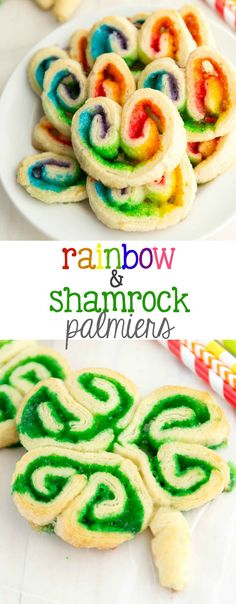 Rainbow & Shamrock Palmiers made with just a few simple ingredients!