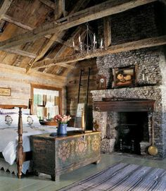 Vintage and antique flea market finds and heirlooms decorate this stone and wood filled rustic cabin bedroom. Description from thevirginiahouse.blogspot.com. I searched for this on bing.com/images