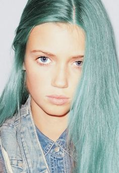 moss colored hair, dyed hair