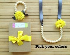 Custom shabby chic jewelry set - pewter & bright yellow - pick your colors - by MissSweetPeaBoutique, $21.00