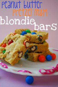 peanut butter pretzel m blondie bars