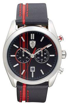 Men's Scuderia Ferrari 'D50' Chronograph Striped Leather Strap Watch