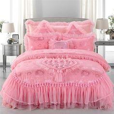 Home Textile Silk Embroidered Jacquard Princess Romantic Wedding Bedding Sets,luxury Silk Duvet Cover,bed Linen,bed Sheet,housse De Cuette