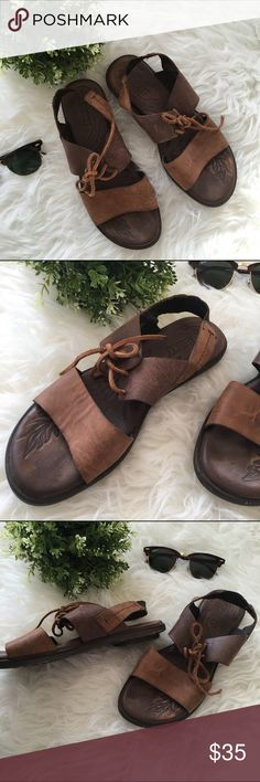 Born Leather Brown Sandals These super comfy, leather brown sandals from Born feature an elastic back and front laces. Excellent condition! Size: 8. Born Shoes Sandals