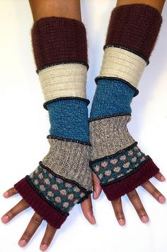 Turquoise, Beige and Burgundy Fingerless Gloves | Flickr - Photo Sharing!