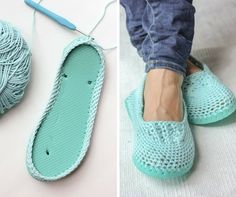 #Free #crochet pattern to turn flip flops into slippers - <3 http://makeanddocrew.com/free-crochet-slippers-pattern-flip-flops-sole/ #crafts