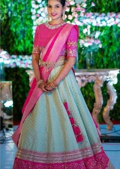 The Most Gorgeous South Indian Lehenga Saree Designs We Spotted! - The Most Gorgeous South Indian Lehenga Saree Designs We Spotted! Lehenga Saree Design, Half Saree Lehenga, Lehnga Dress, Indian Lehenga, Lehenga Designs, Saree Designs Party Wear, Lehanga Saree, Kids Lehenga, Half Saree Designs