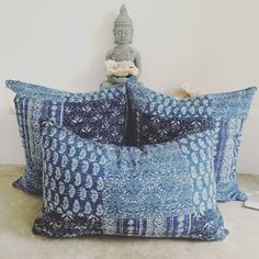 Kantha Indigo pillow covers  Zip closure Cotton Machine washable  Fair Trade