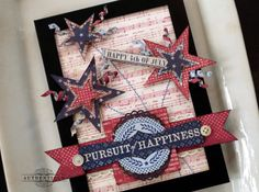 Audrey Pettit- Handmade patriotic card, Authentique