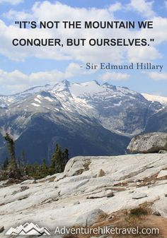 """""""It's not the mountain we conquer, but ourselves."""" - Sir Edmund Hillary  #hiking #quotes #adventurequotes #inspirationalquotes #hike #hikingquotes Hiking Quotes, Travel Quotes, Franklin Falls, Winter Hiking, John Muir, Get Outdoors, Adventure Quotes, Round Trip, Mountain Landscape"""