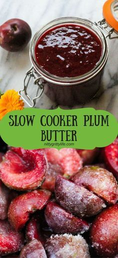 Develop A The Moment Upon A Dream Fairy Tale Birthday Bash Plum Butter Made In The Slow Cooker Results In A Rich, Flavorful Fruit Spread Ever So Slightly Nuanced With The Almond Notes Of The Plum Pits. This Canning Recipe Makes Approximately 4 Half-Pints. Jelly Recipes, Fruit Recipes, Recipies, Vegan Recipes, Slow Cooker Recipes, Crockpot Recipes, Jam And Jelly, Plum Jelly, Crock Pot Cooking