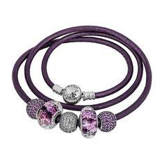 Pandora Purple Passion Leather Bracelet - Item PANB-5-PPP | Pandora