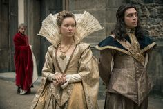 Queen Anne and King Louis of France - Cardinal Richelieu in the background. The Musketeers - BBCA