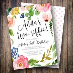 Second Birthday Party Invitation, Two-riffic Birthday Party, Girl Birthday Invite, Boho Floral Birthday Invite, Pink, Blue, Green - Spotted Gum Design - Etsy