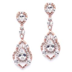 Rose Gold Cubic Zirconia Dangle Wedding and Prom Earrings - so pretty! - Affordable Elegance Bridal -