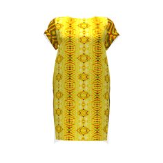 Named Clothing Inari Tee Dress made with Spoonflower designs on Sprout Patterns. This Inari Tee Dress combines three brilliantly vivid fabrics for a true WOW factor.  The yellow dominant print on the front is from Sharon Passmore of chinaberries_studio.  The exotic abstract on the back and the chevron sleeves are by maryyx.