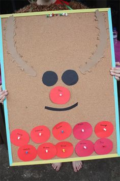 Pin-the-nose-on-the-reindeer board is a fun ice breaker game for kids to play when they first arrive at the party, or it's so easy to set up you can make it for your kids to play at home as a pre-holiday fun time!