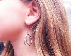 Silver circle earrings - hoop earrings - open circle dangle and drop - 3D earrings - long earrings  Handmade by Carla Amaro