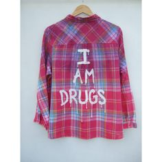 I Am Drugs Dripping Grunge Pink Flannel Shirt ($28) ❤ liked on Polyvore featuring tops, black, women's clothing, flannel shirt, shirts & tops, see through tops, pink checkered shirt and sheer top