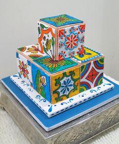 Modern, colorful square wedding cake with tile design {A Love For Cakes, LLC} Square Wedding Cakes, Diy Wedding Cake, Wedding Cake Designs, Custom Birthday Cakes, Custom Cakes, Chocolate Raspberry Cake, Raspberry Mousse, Chocolate Cake, Gluten Free Vanilla Cake