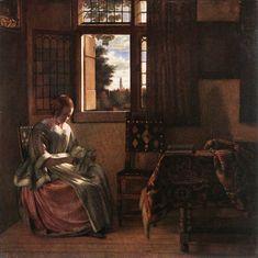 Woman Reading a Letter, Pieter de Hooch, 1664. oil on canvas