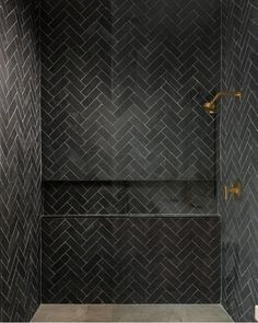 Shower Remodel Brown and Master Shower Remodel On A Budget. Black Tile Bathrooms, Modern Bathroom, Small Bathroom, Bathroom Ideas, Neutral Bathroom, Douche Design, Interior Minimalista, Black Shower, Herringbone Tile