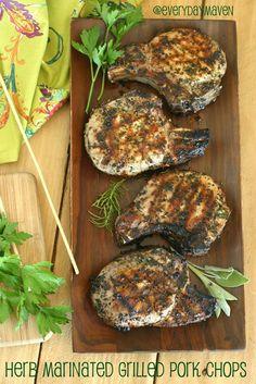 Herb Marinated Pork Chops Recipe. Grilled Pork Chops Recipe.