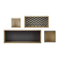 4 estanterías de pared de madera An. 100 cm