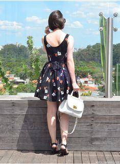 Vestido florido rodado. Lady like   Look da Cinthia Ferreira do MakeUp Atelier #ModaNoMake