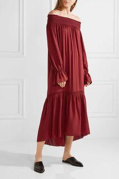 Claret silk-jersey Slips on 100% silk Dry clean Designer color: Black Cherry
