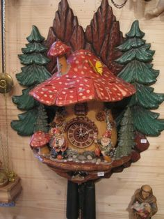 """This is a cuckoo clock from the Haus Der 1000 Uhren (House of 1000 Clocks). the pricetag reads """"698""""."""