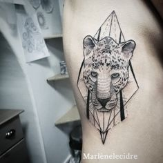 #marlenelecidre #tattoo #tatouage #art #geometrictattoo #geometric #ink #animal #head #leopard #paris #paris11 #parisienne #style #fashion #love