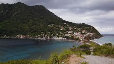 Scotts Head, Dominica. The Caribbean on the left and Atlantic on the right
