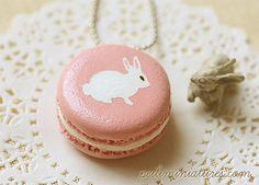 Rabbit Necklace  Pink Rabbit Macaron by miniaturepatisserie, $23.90