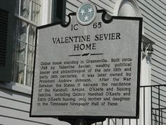 Battle of Kings Mountain - Valentine Sevier House - 1C 65 - Tennessee Historical Markers on Waymarking.com