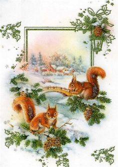 Vintage Squirrel Christmas Card