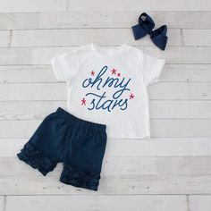 Young Wild & Free - Shirt and Short Set Young Wild Free, Wild And Free, Ruffle Shorts, White Shorts, 4th Of July Celebration, Short Set, Ribbon Bows, Onesies, Stars