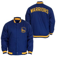 Golden State Warriors JH Design Primary Logo Snap Front Poly Varsity Jacket - Royal