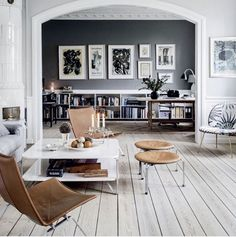Dramatic grey wall with large scale abstract.